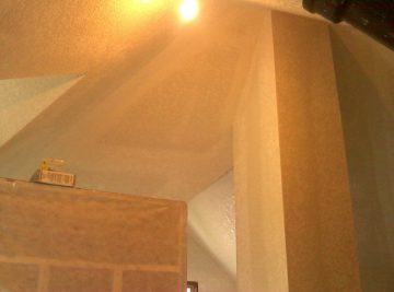 Vaulted attic project in St Paul. Knockdown texture on walls and ceilings